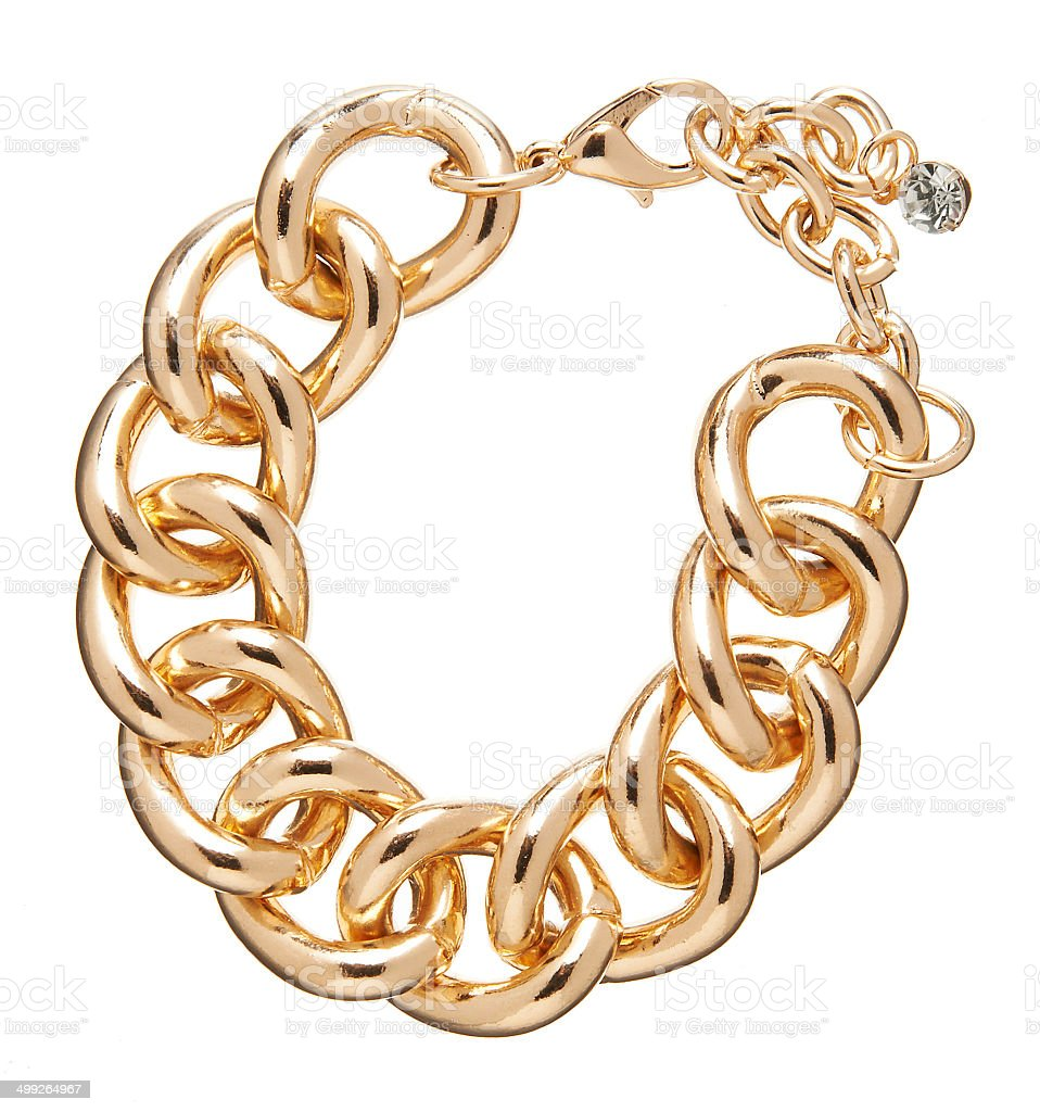 golden chain necklace isolated on white stock photo