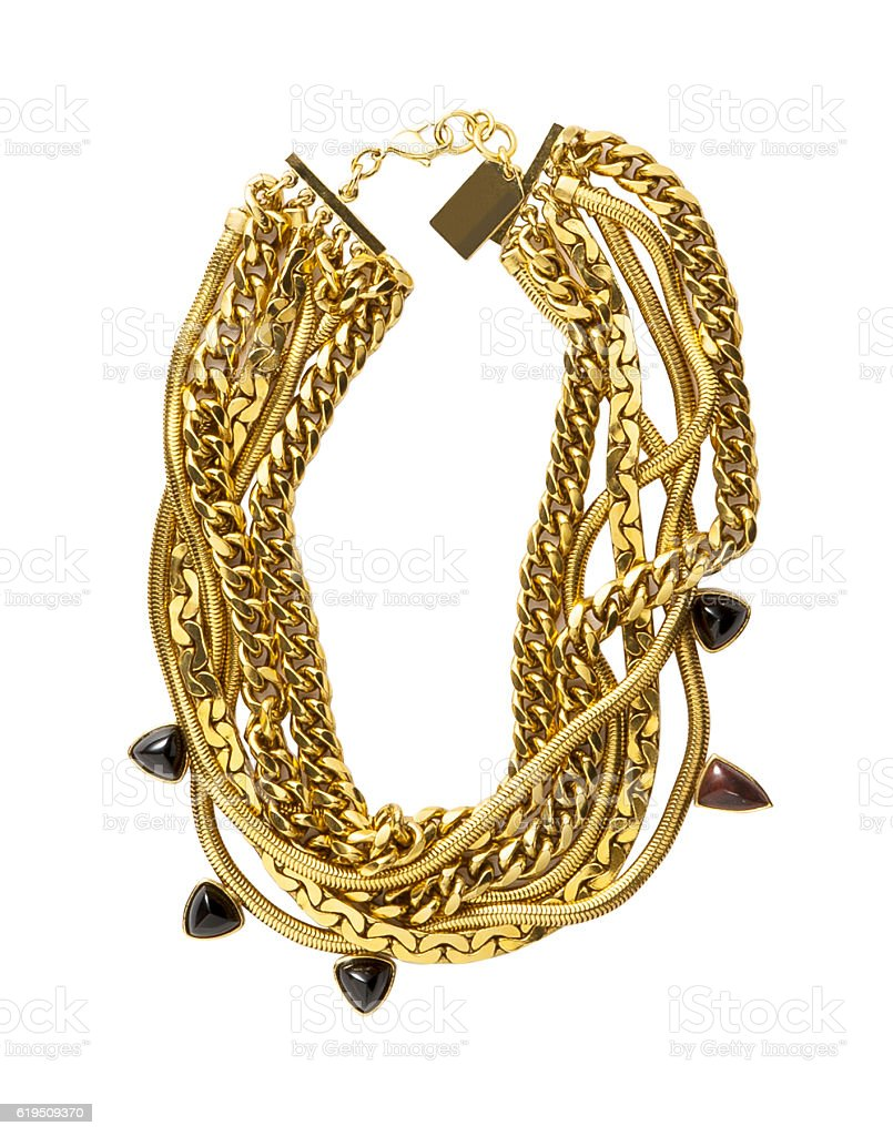 Golden chain necklace stock photo