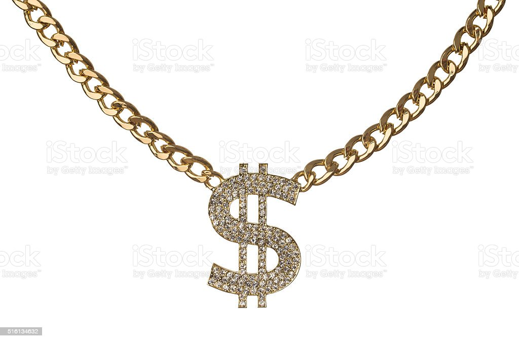 Golden chain with diamond dollar symbol stock photo