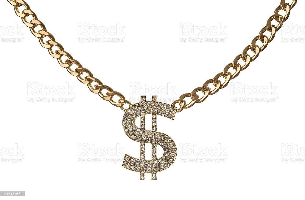 Golden chain with diamond dollar symbol stock photo