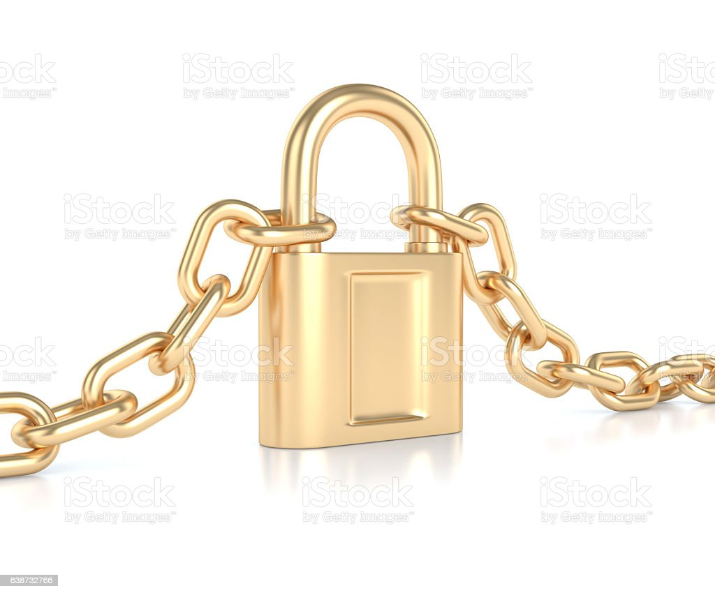 Golden chain with lock stock photo