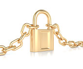 Golden chain with lock
