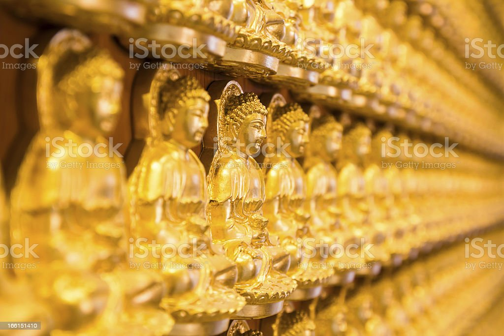 Golden Chainese Buddha at Leng Noei Yi 2 temple royalty-free stock photo