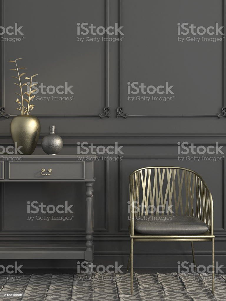 Golden chair in gray interior stock photo