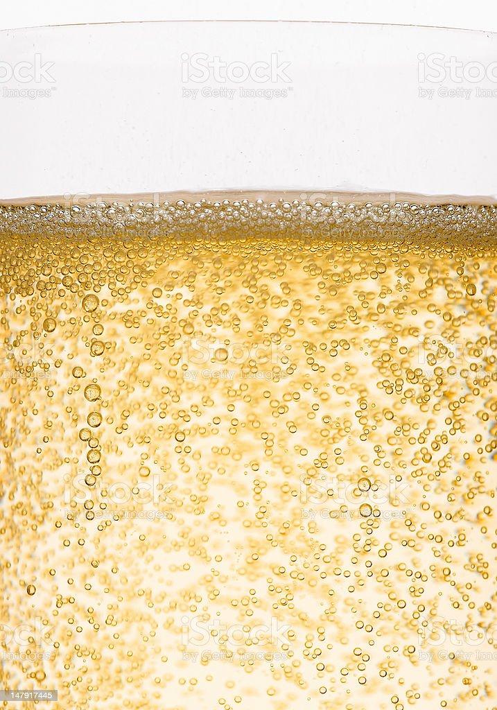 Golden champagne bubbles stock photo
