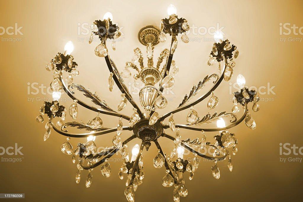 Golden chandelier royalty-free stock photo