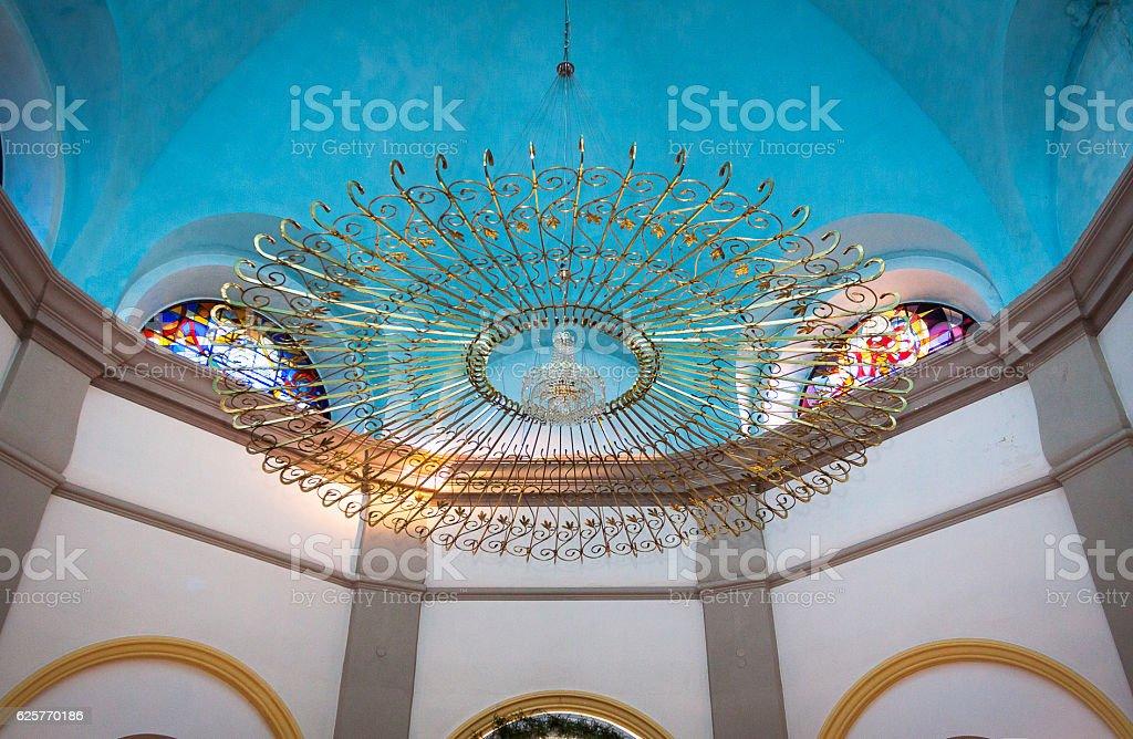 Golden chandelier stock photo