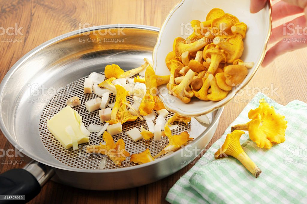 golden chanterelle mushroom (Cantharellus cibarius) in frying pan stock photo
