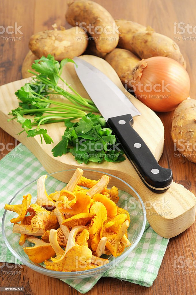 golden chanterelle mushroom (Cantharellus cibarius) with parsley stock photo