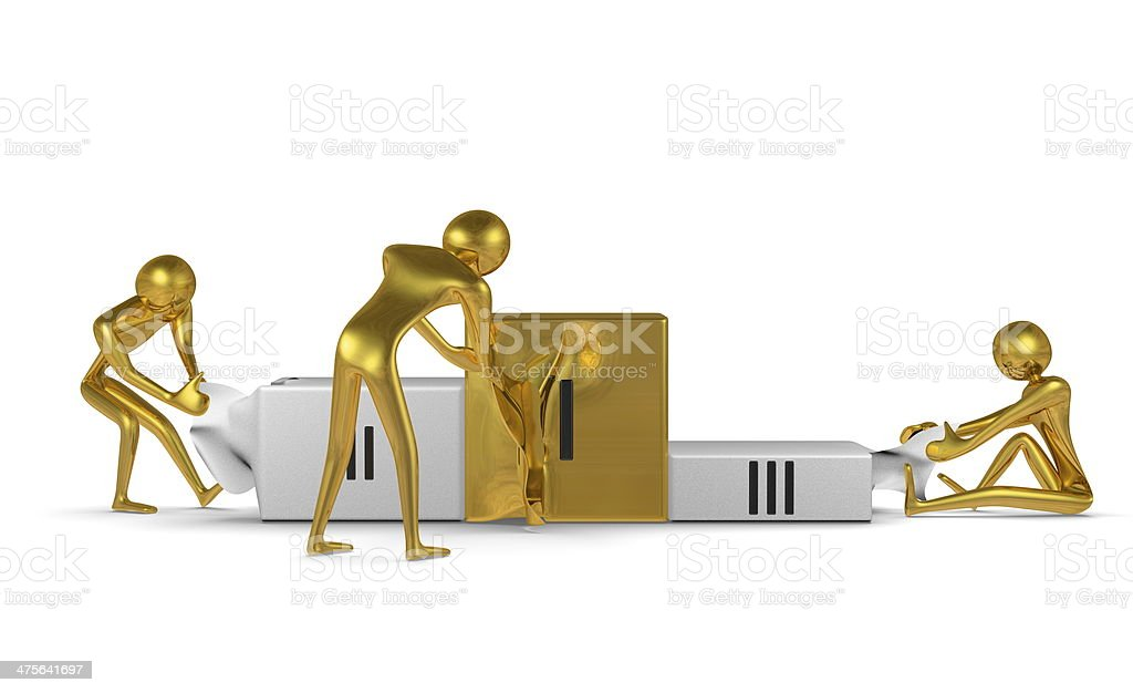 Golden characters tearing podium. Front view stock photo