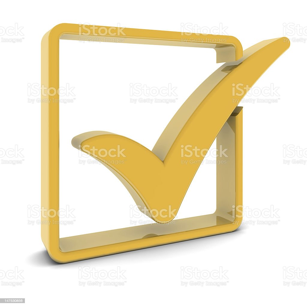 Golden Check Mark royalty-free stock photo