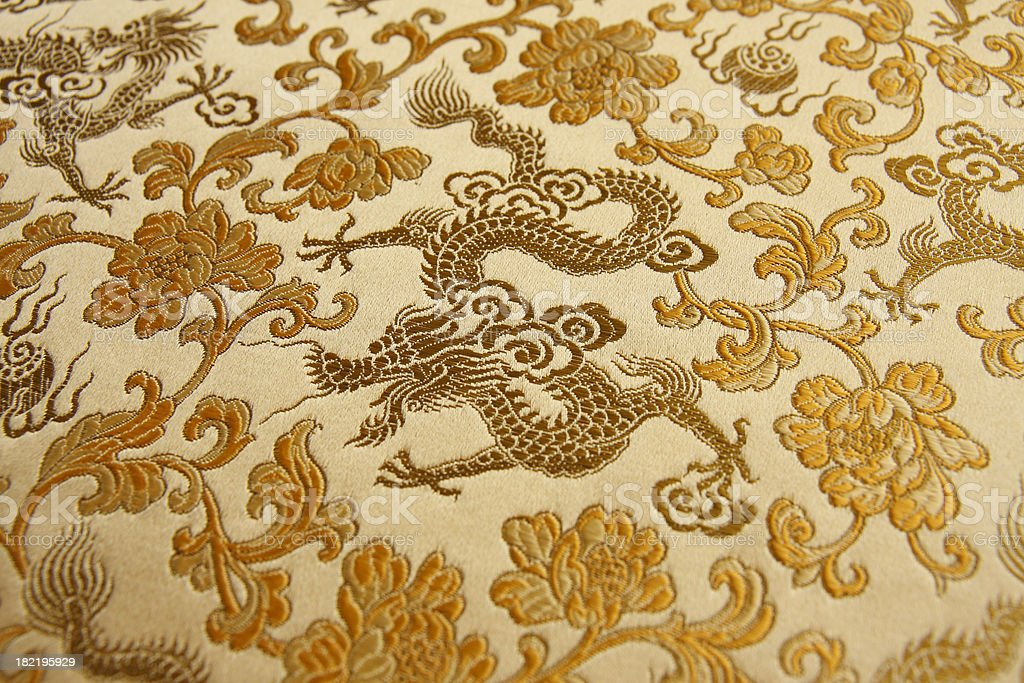 Golden Chinese Dragon Embroidery stock photo