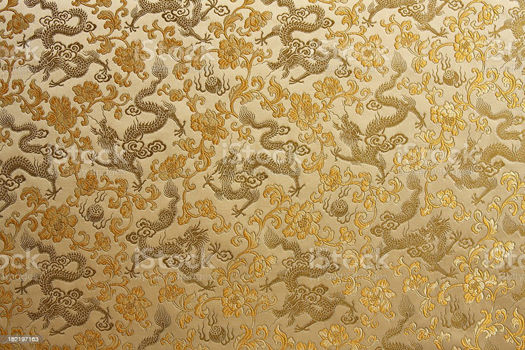 Golden Chinese Dragon Embroidery royalty-free stock photo