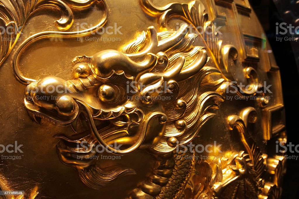 Golden Chinese Dragon Head Art royalty-free stock photo