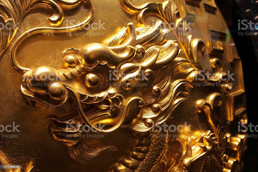 Golden Chinese Dragon Head Art stock photo