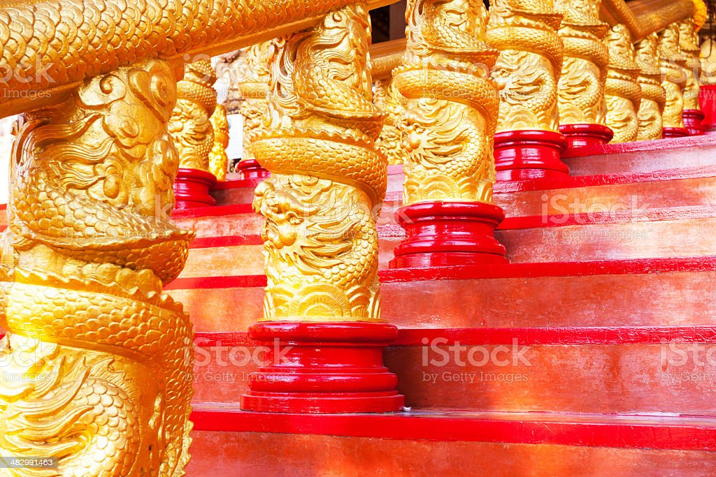 Golden chinese handrail royalty-free stock photo