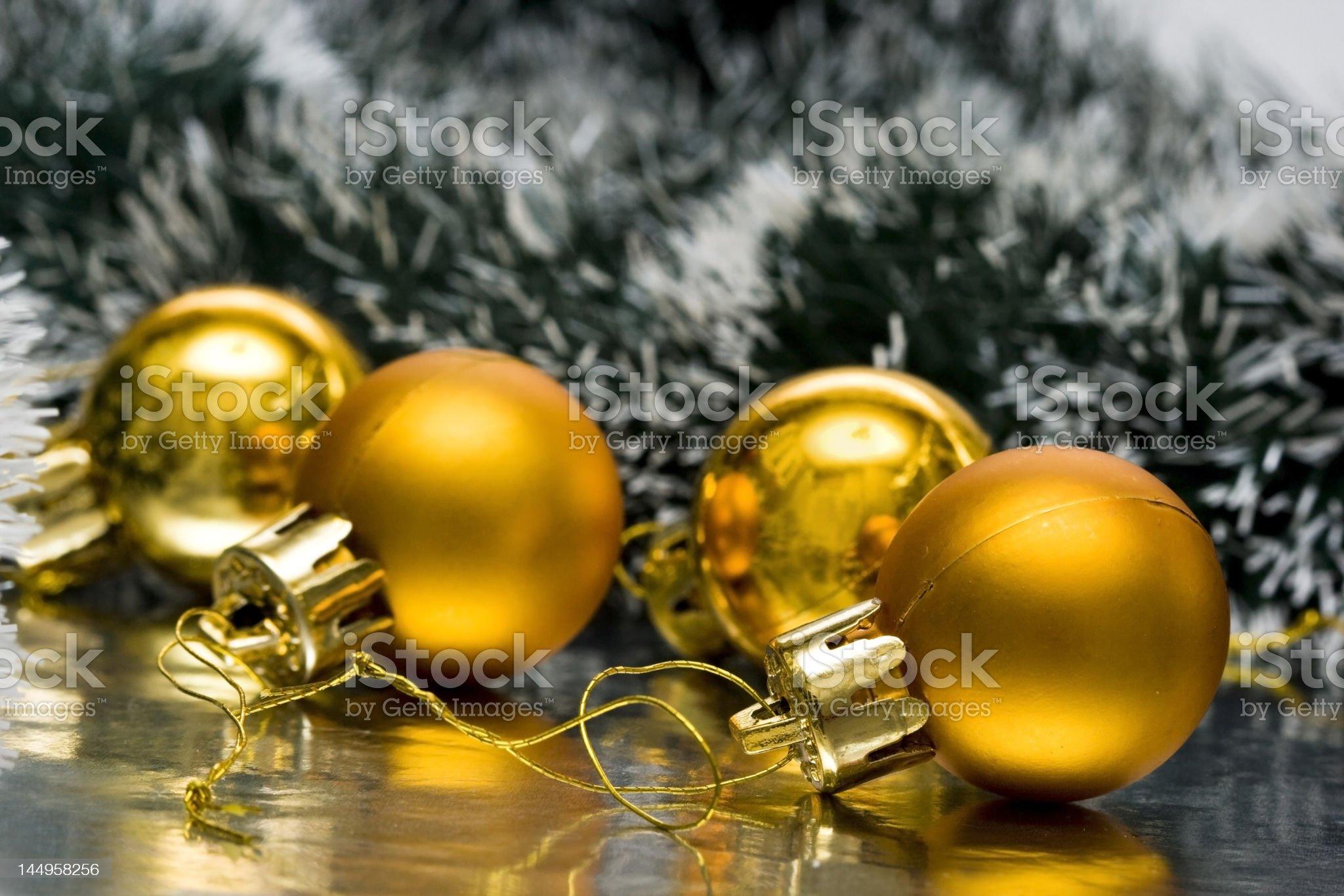 golden Christmas balls and garland royalty-free stock photo