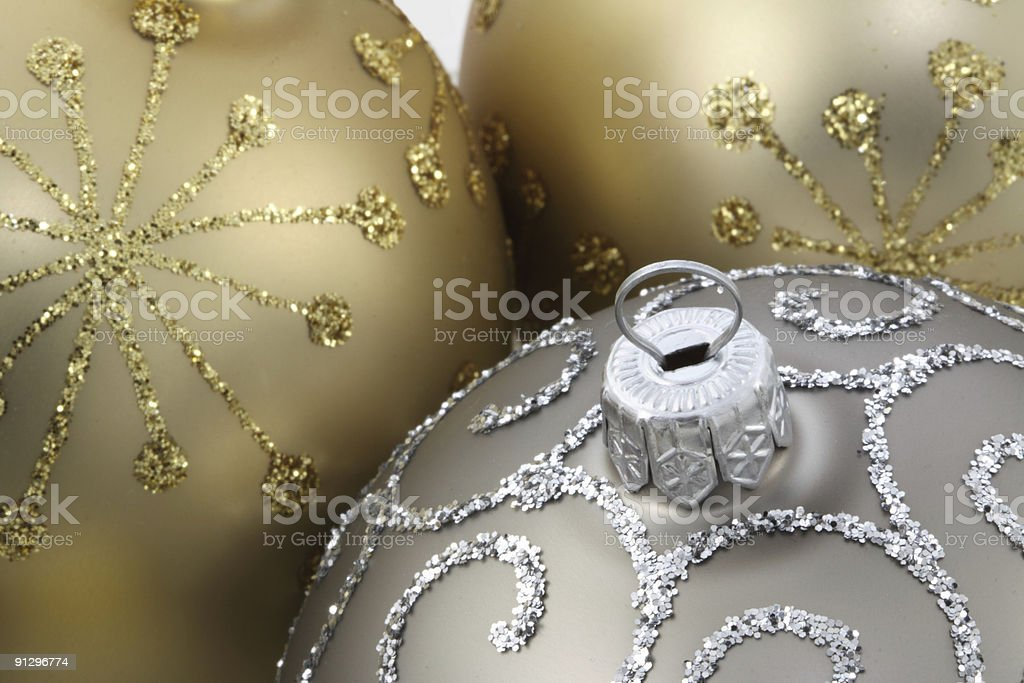 Golden Christmas Baubles royalty-free stock photo