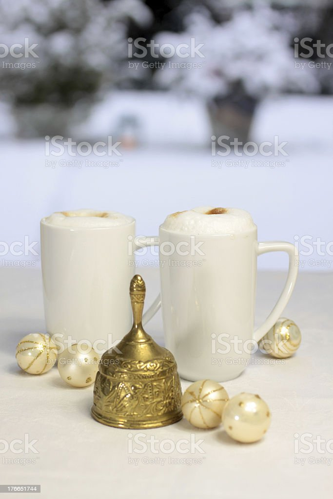 Golden Christmas bell, balls and gift bag royalty-free stock photo