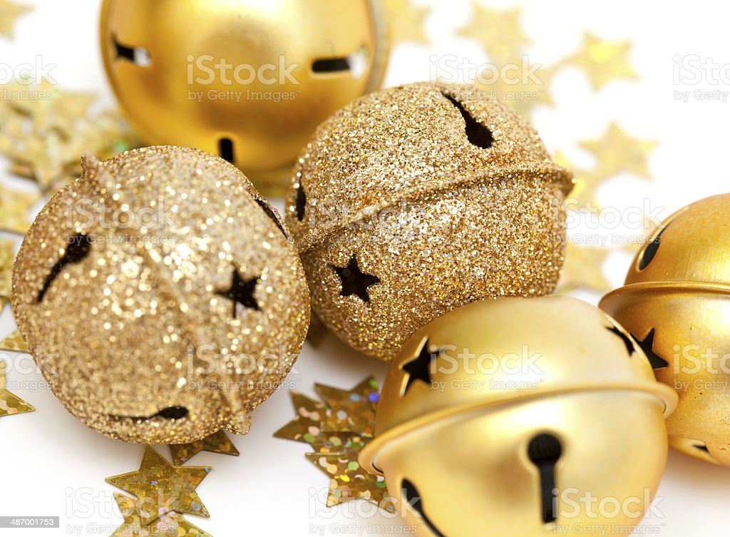 golden Christmas bells and stars stock photo