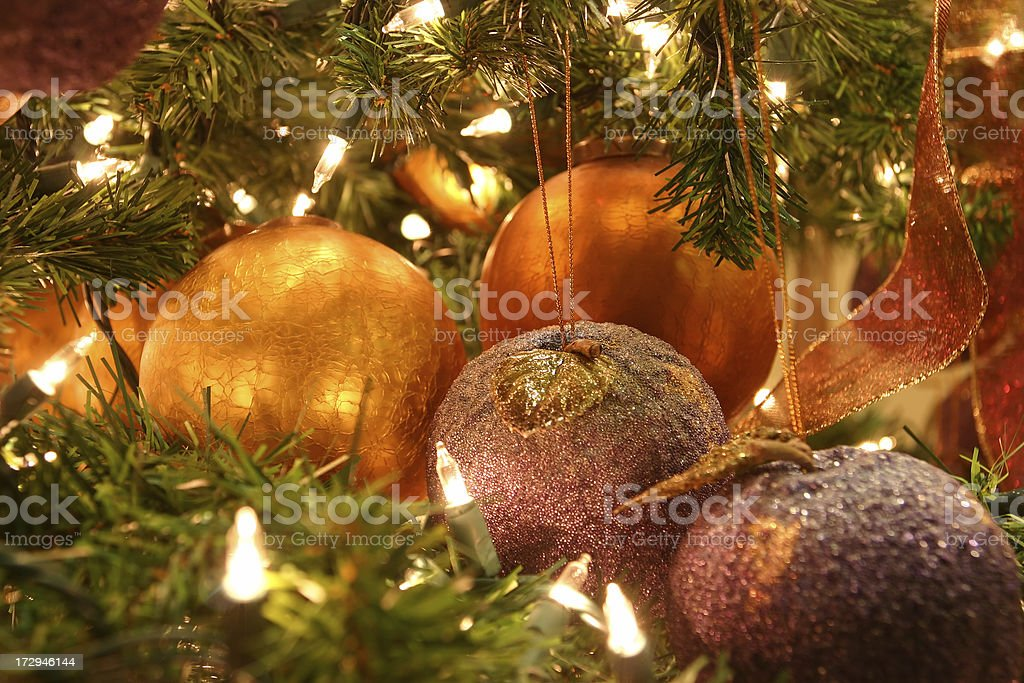 Golden Christmas Decoration Background royalty-free stock photo