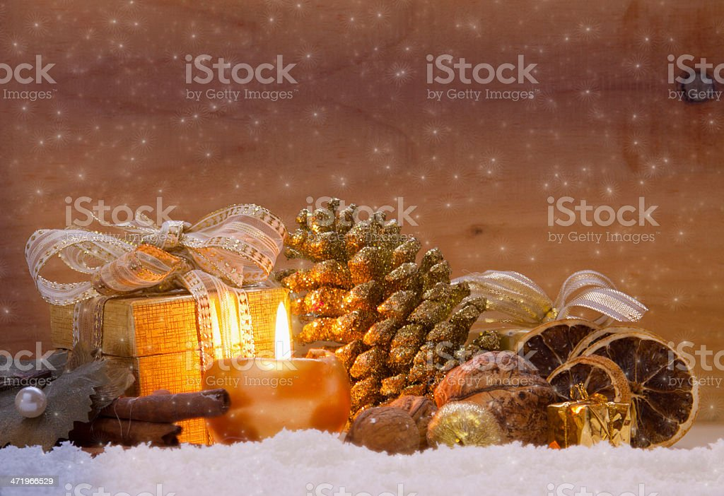 Golden Christmas decoration. stock photo