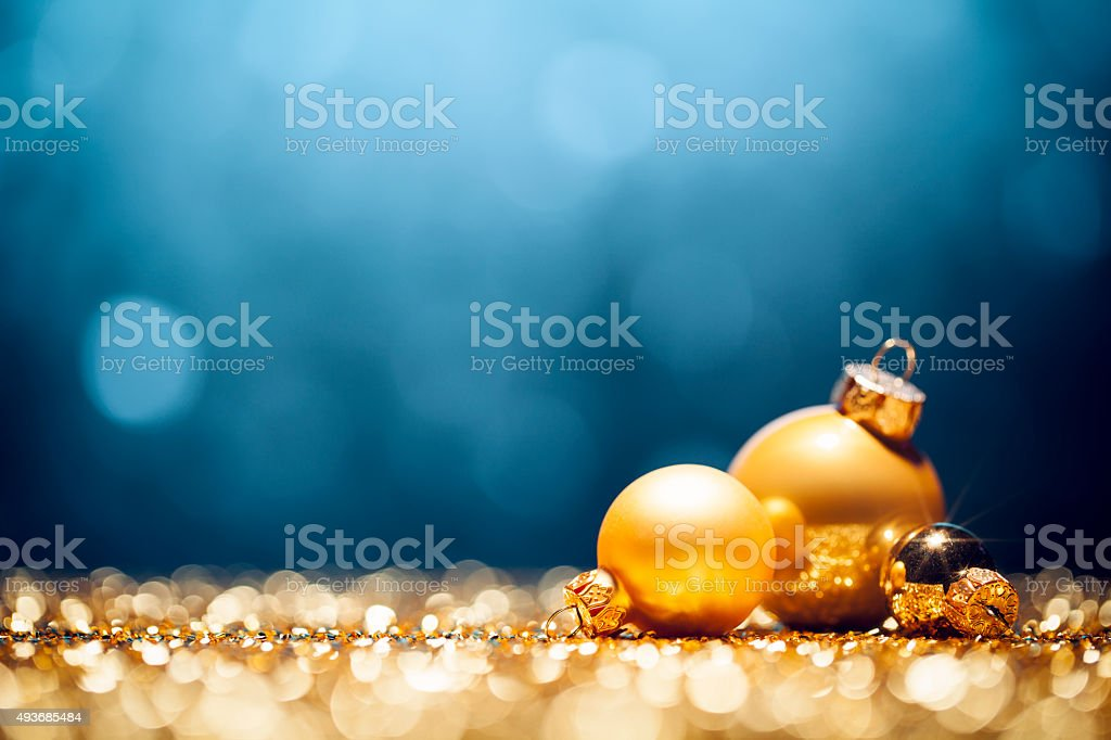 Golden Christmas Decorations - Lights Bokeh Defocused Decoration Blue Gold stock photo