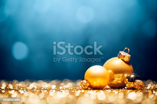 Golden Christmas Decorations Lights Bokeh Defocused ...