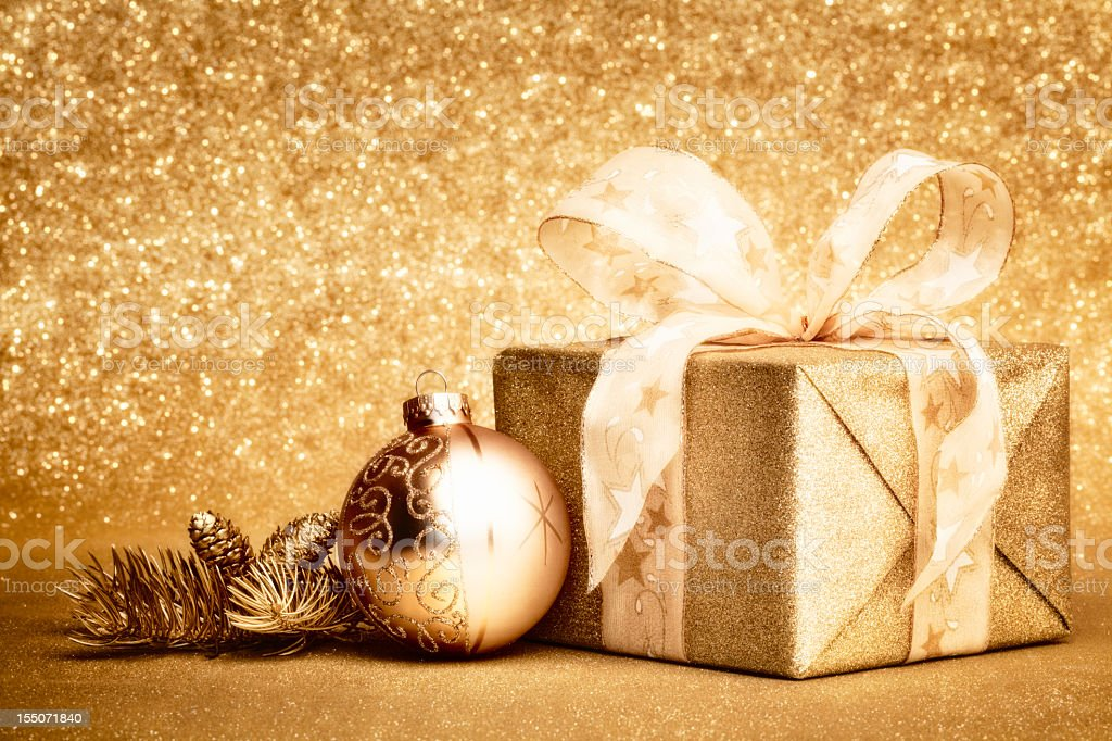 Golden Christmas Gift stock photo