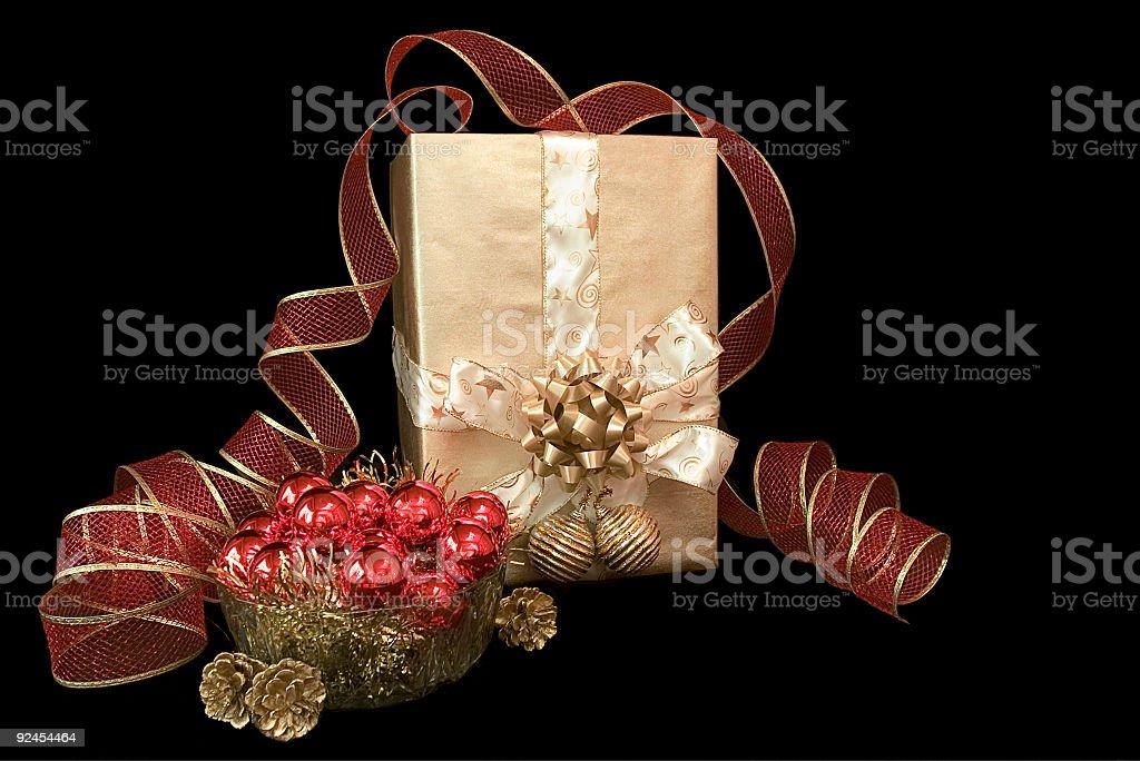 Złoty Boże Narodzenie prezent zbiór zdjęć royalty-free