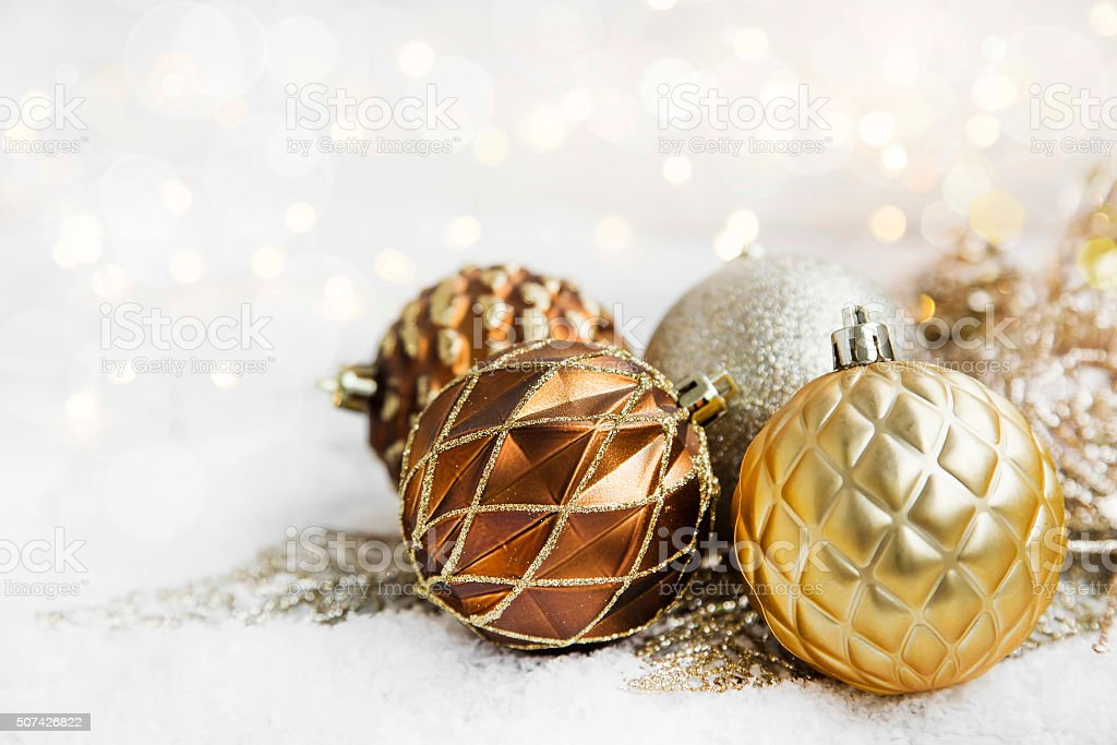 Golden Christmas Globes stock photo