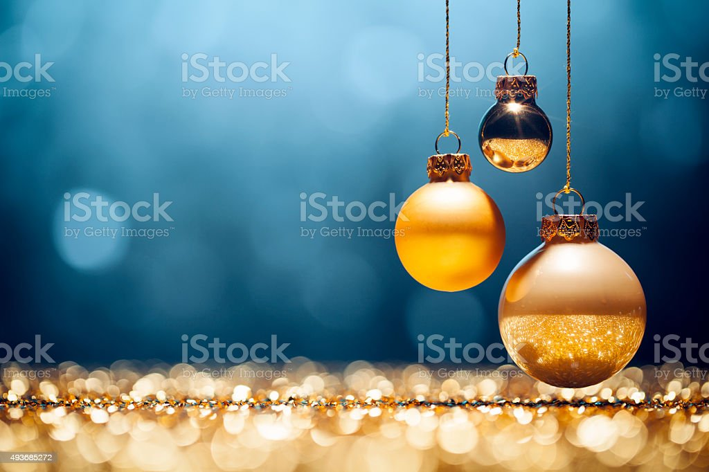Golden Christmas - Lights Bokeh Defocused Decoration Gold Blue stock photo