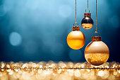 Golden Christmas - Lights Bokeh Defocused Decoration Gold Blue