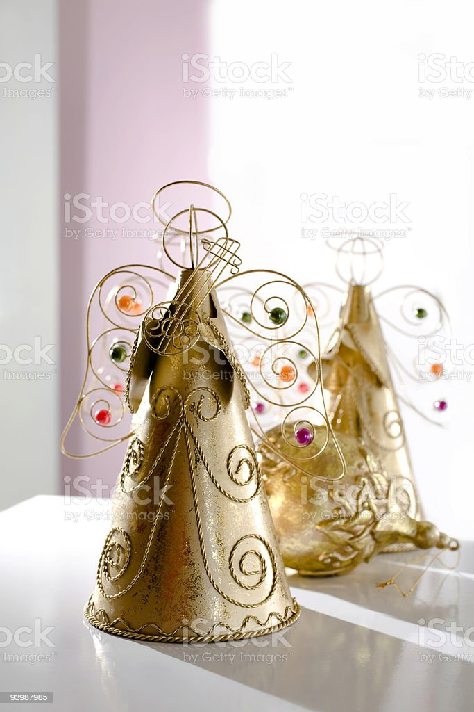 Golden Christmas musical Angels royalty-free stock photo