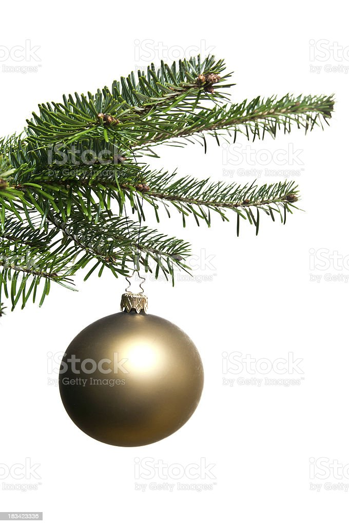 golden christmas ornament ball on christmastree royalty-free stock photo