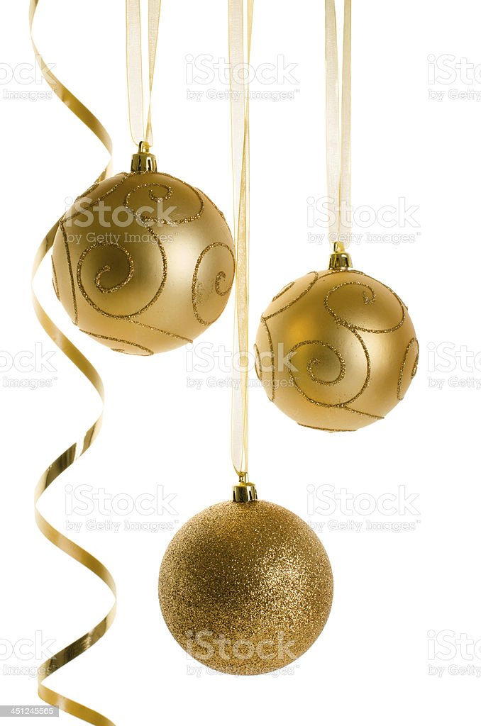 Golden Christmas Ornaments isolated on white background royalty-free stock photo