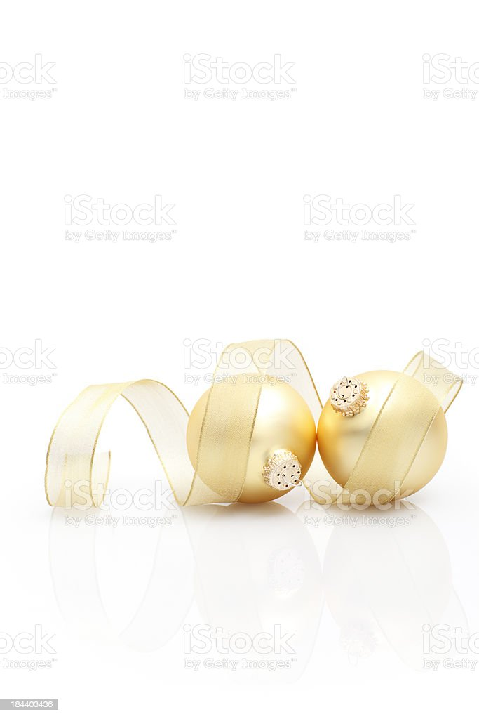 Golden christmas ornaments royalty-free stock photo