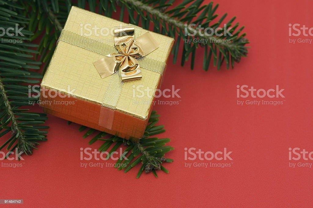 Golden Christmas Present royalty-free stock photo