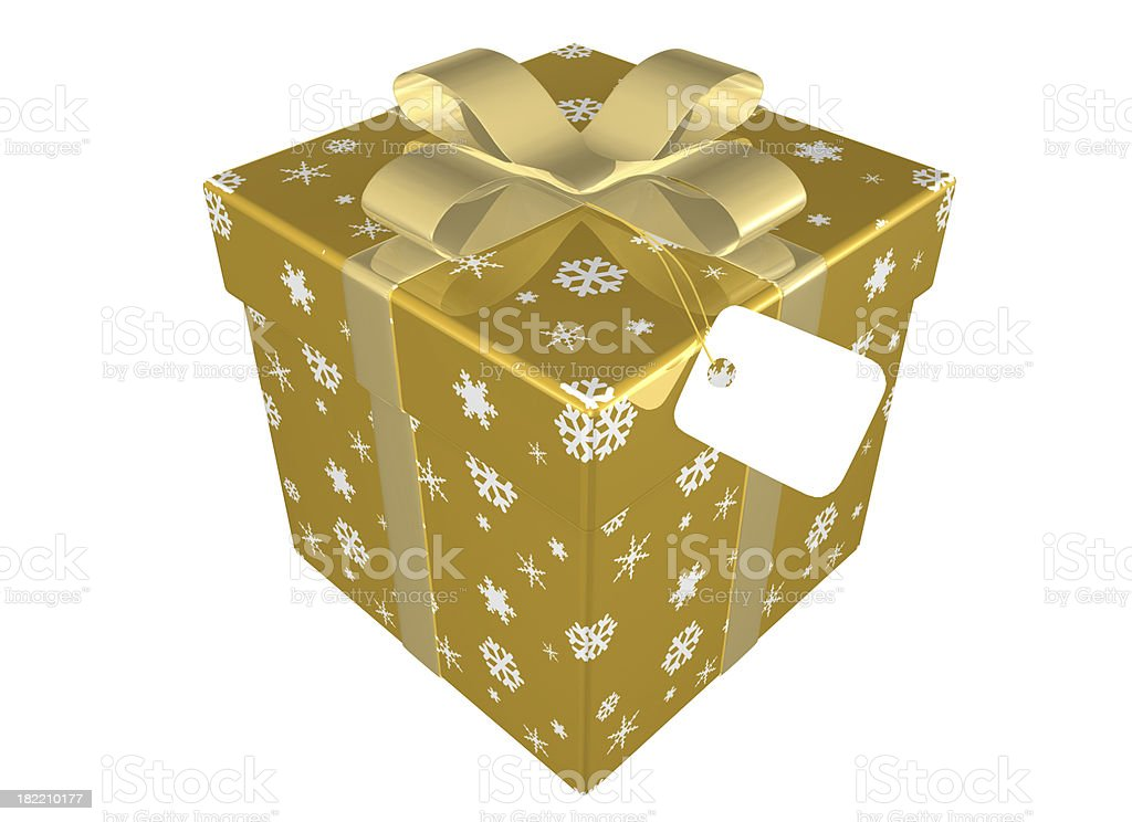 golden Christmas Present with Bow and Tag royalty-free stock photo