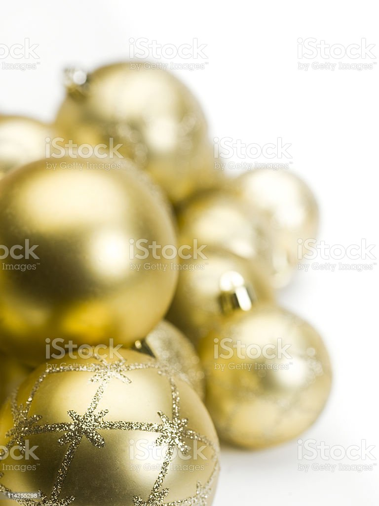 Golden Christmas Spheres Background royalty-free stock photo