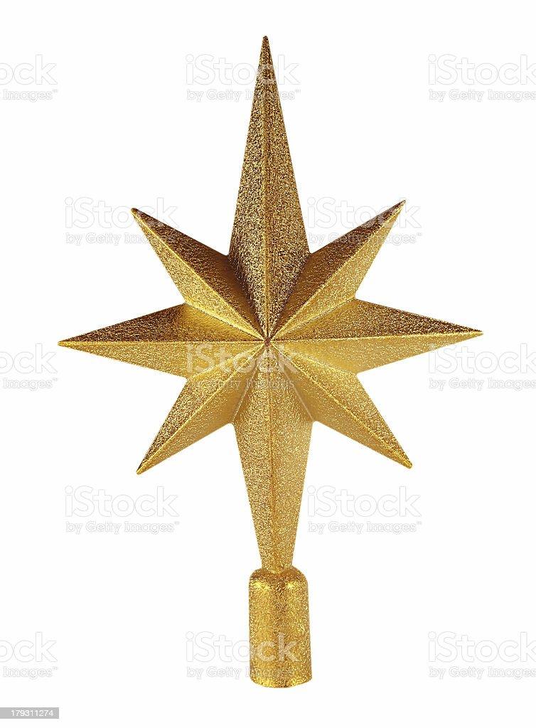 Golden Christmas star stock photo