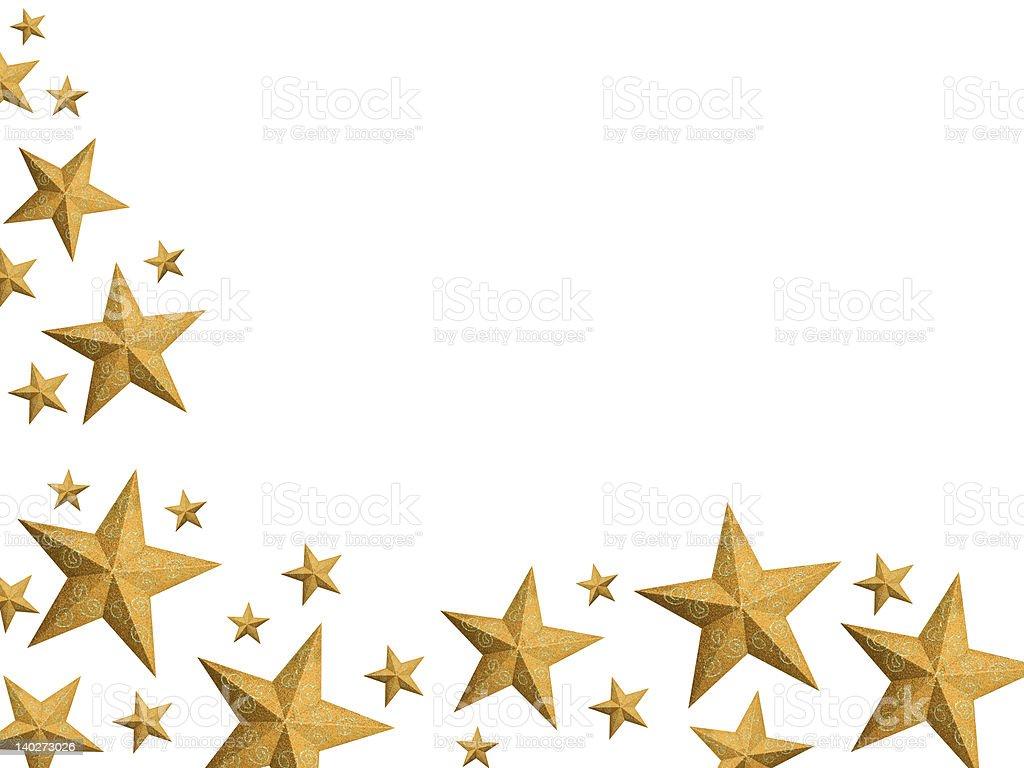 Golden Christmas stars stream - isolated royalty-free stock photo