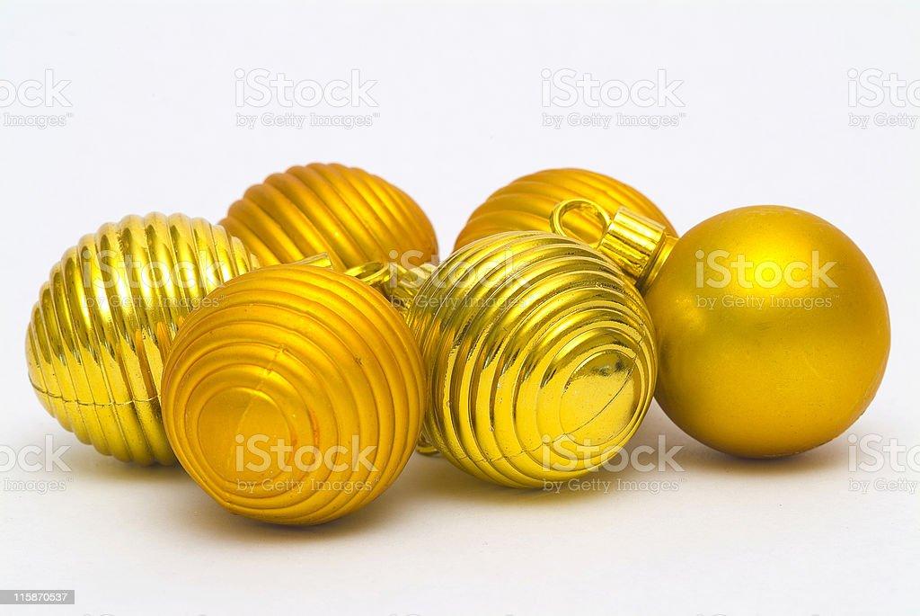 Golden christmas tree baubles stock photo
