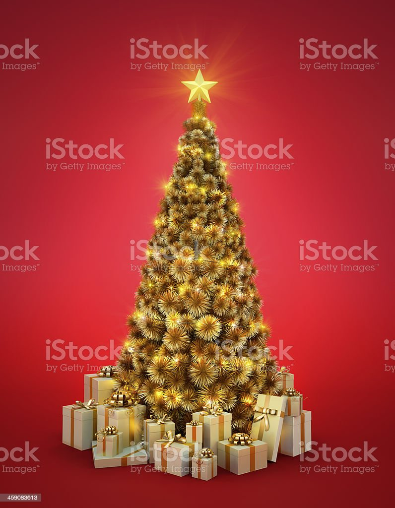 Golden Christmas tree royalty-free stock photo