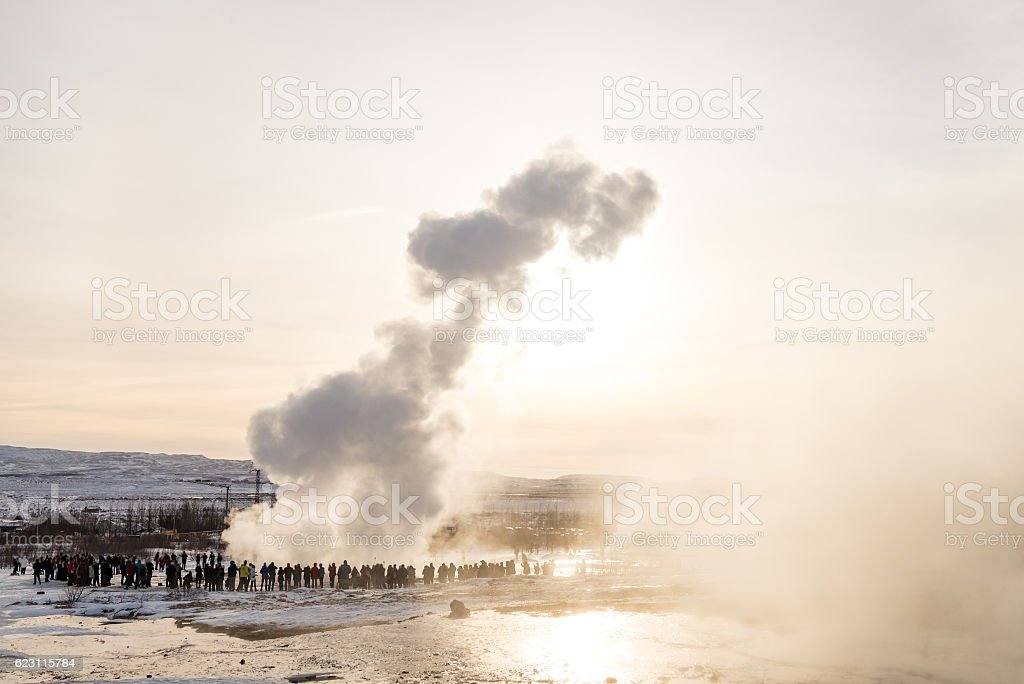 Golden circle Geysir area in Iceland stock photo