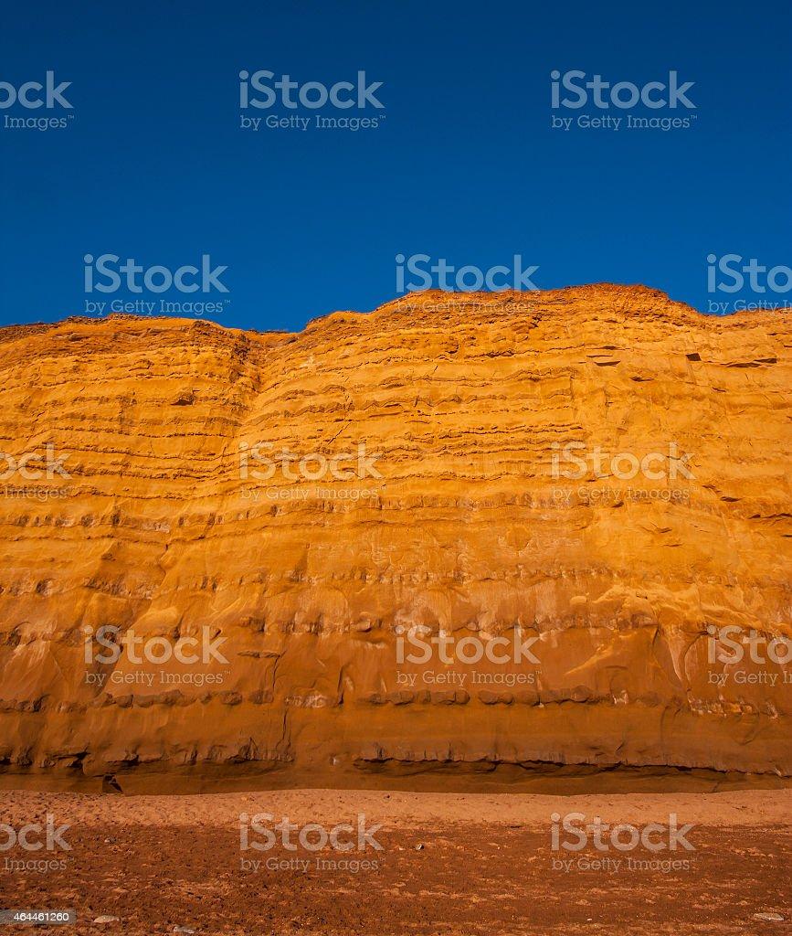 Golden cliffs at West Bay, Dorset stock photo