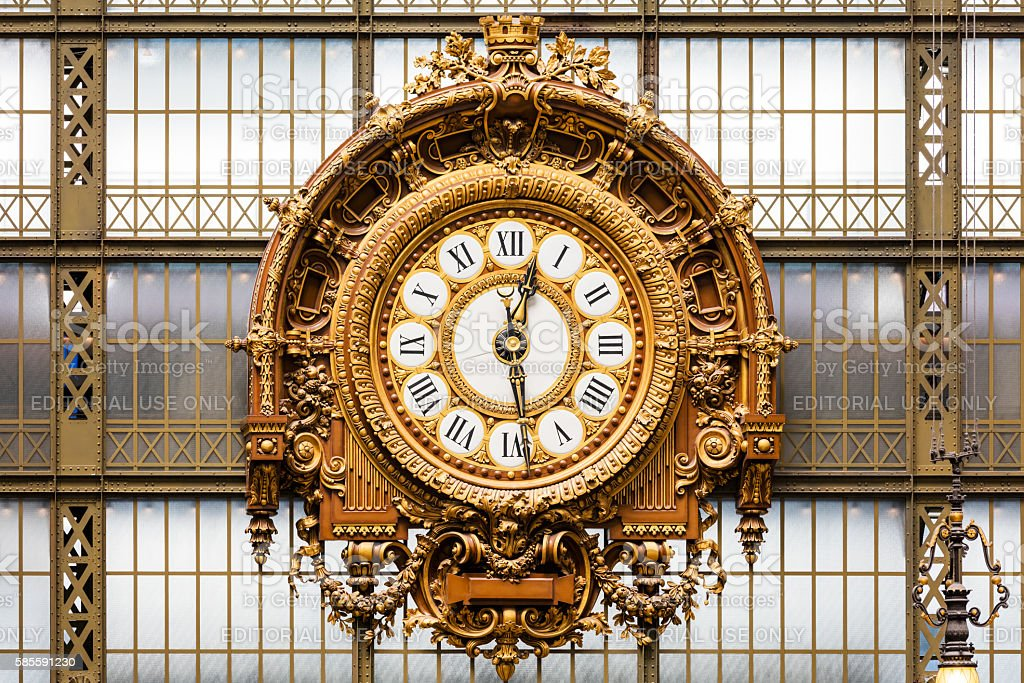 Golden clock of the museum D'Orsay royalty-free stock photo