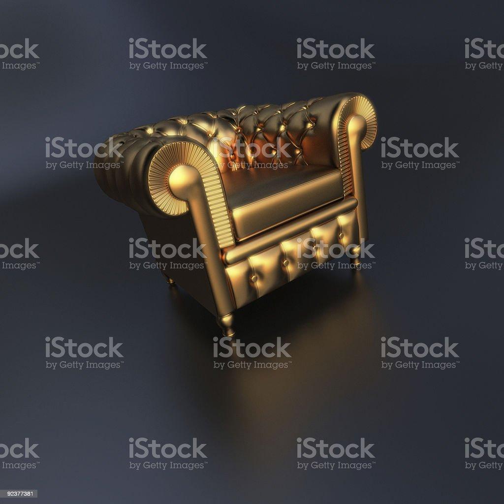 Golden club sofa stock photo
