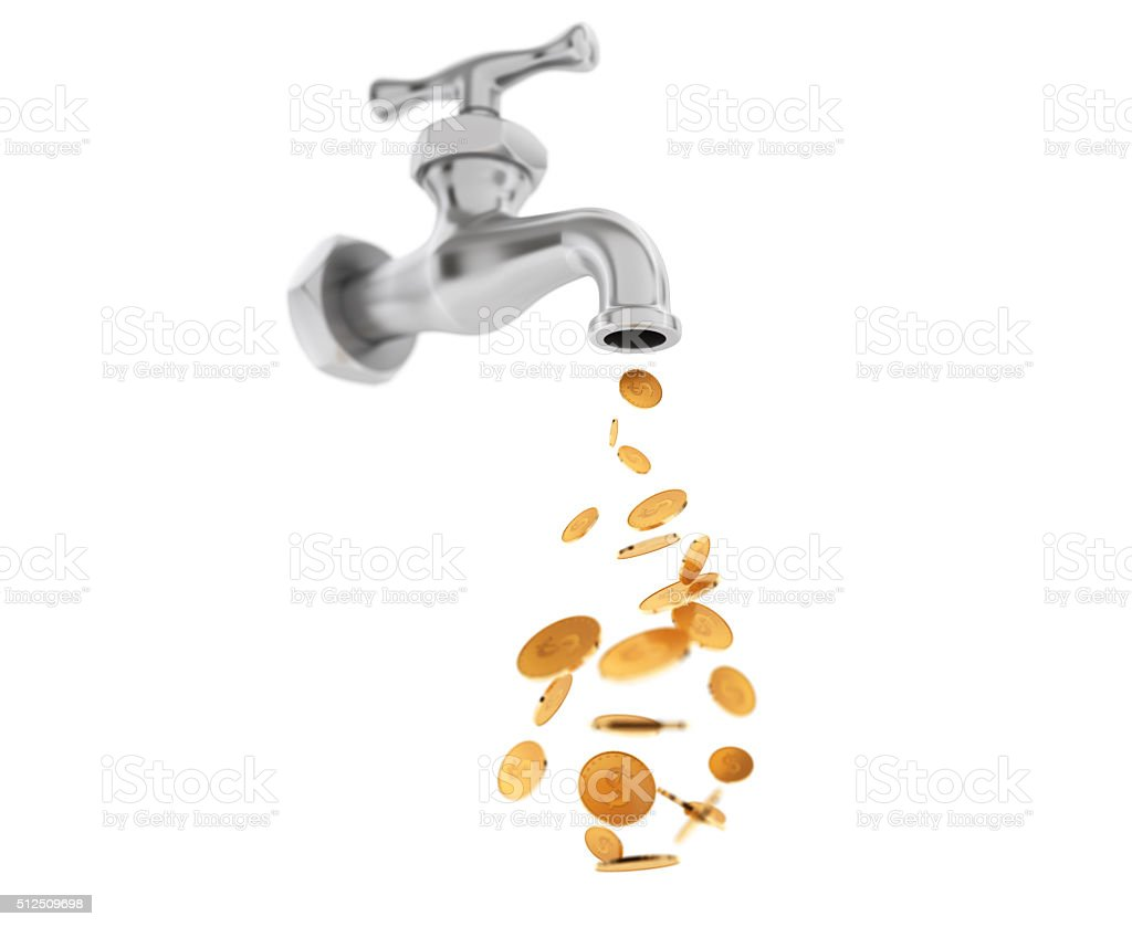Golden Coin Coming Out From Chrome Water Tap stock photo