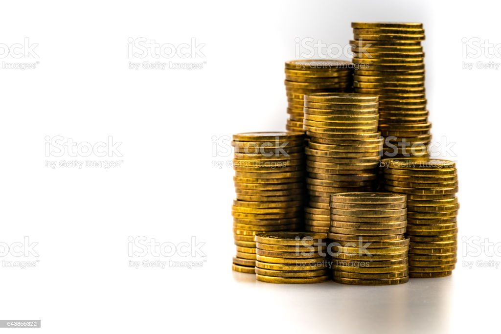 Golden coin on white stock photo